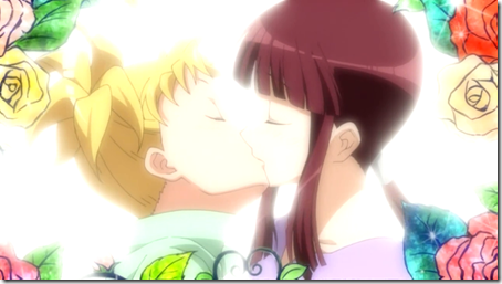 2 girls + 1 kiss = flower-border
